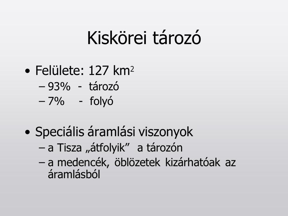 """Kiskörei tározó Felülete: 127 km 2 –93% - tározó –7% - folyó Speciális áramlási viszonyok –a Tisza """"átfolyik"""" a tározón –a medencék, öblözetek kizárha"""