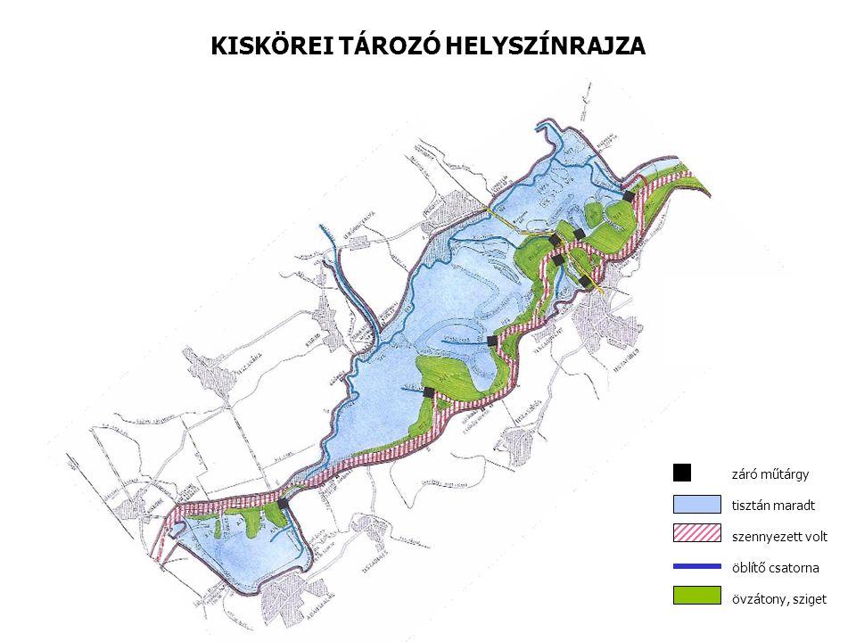 A Kiskörei Tározó helyszínrajza záró műtárgy tisztán maradt szennyezett volt öblítő csatorna övzátony, sziget KISKÖREI TÁROZÓ HELYSZÍNRAJZA