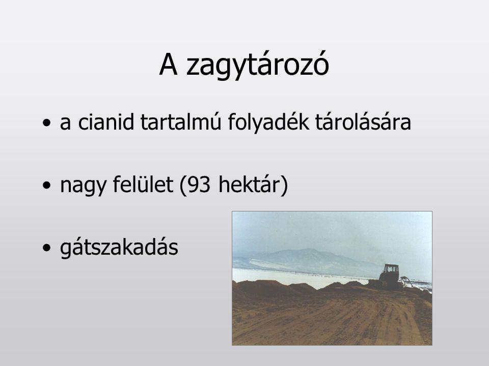 A zagytározó a cianid tartalmú folyadék tárolására nagy felület (93 hektár) gátszakadás