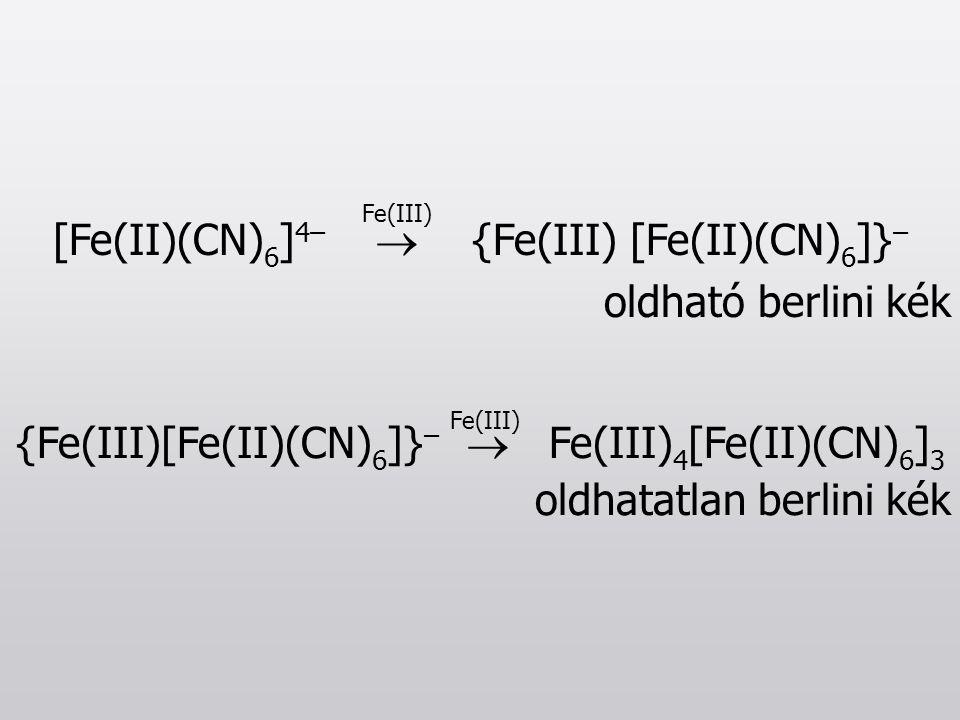 Fe(III) {Fe(III)[Fe(II)(CN) 6 ]} –  Fe(III) 4 [Fe(II)(CN) 6 ] 3 oldhatatlan berlini kék Fe(III) [Fe(II)(CN) 6 ] 4–  {Fe(III) [Fe(II)(CN) 6 ]} – oldh