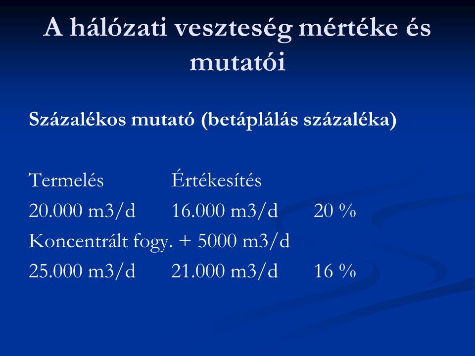 A hálózati veszteség mértéke és mutatói Százalékos mutató (betáplálás százaléka) TermelésÉrtékesítés 20.000 m3/d16.000 m3/d20 % Koncentrált fogy.