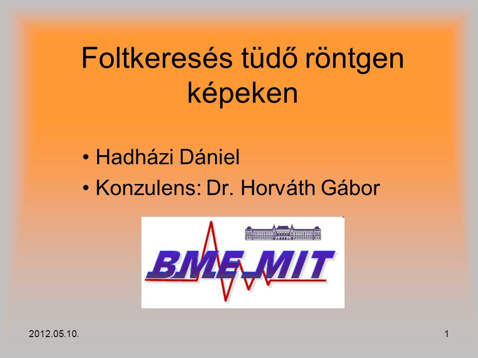 2012.05.10.1 Foltkeresés tüdő röntgen képeken Hadházi Dániel Konzulens: Dr. Horváth Gábor