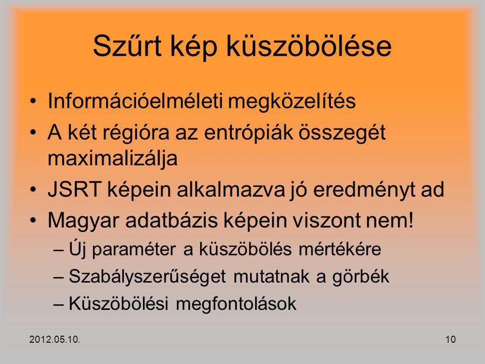 2012.05.10.10 Szűrt kép küszöbölése Információelméleti megközelítés A két régióra az entrópiák összegét maximalizálja JSRT képein alkalmazva jó eredmé