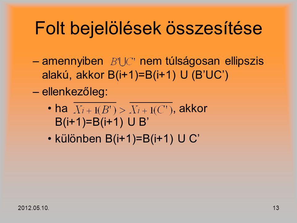 2012.05.10.13 Folt bejelölések összesítése –amennyiben nem túlságosan ellipszis alakú, akkor B(i+1)=B(i+1) U (B'UC') –ellenkezőleg: ha, akkor B(i+1)=B