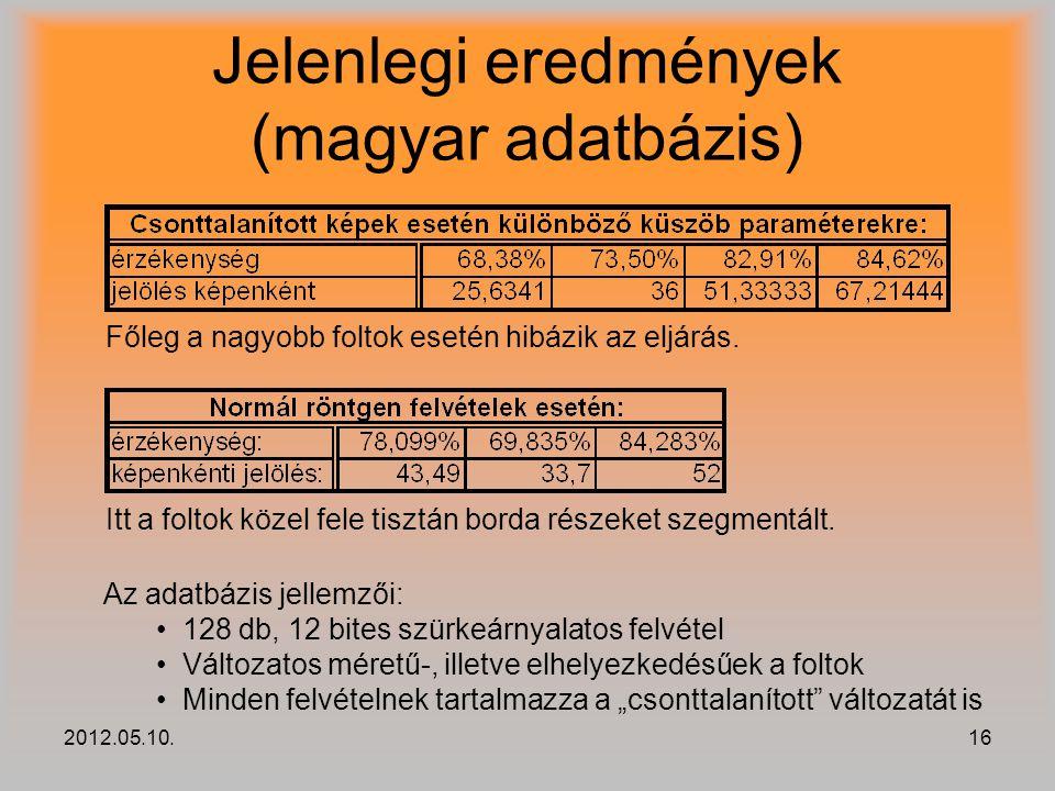 2012.05.10.16 Jelenlegi eredmények (magyar adatbázis) Főleg a nagyobb foltok esetén hibázik az eljárás. Itt a foltok közel fele tisztán borda részeket