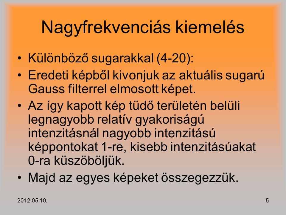 2012.05.10.16 Jelenlegi eredmények (magyar adatbázis) Főleg a nagyobb foltok esetén hibázik az eljárás.