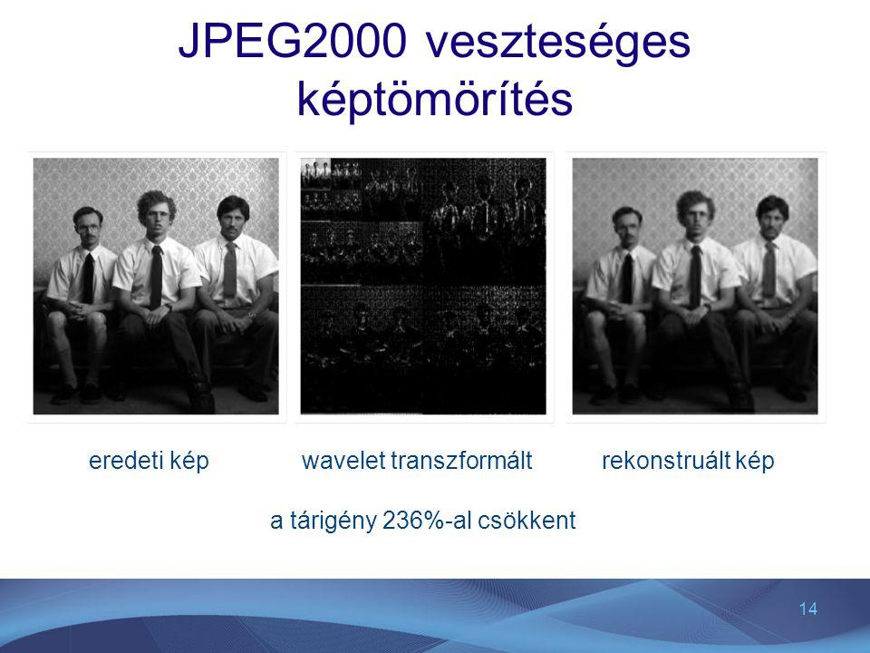14 JPEG2000 veszteséges képtömörítés wavelet transzformálteredeti képrekonstruált kép a tárigény 236%-al csökkent