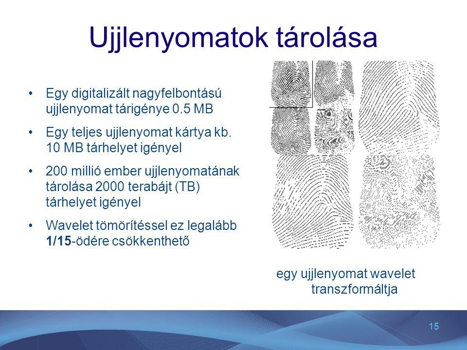 15 Ujjlenyomatok tárolása egy ujjlenyomat wavelet transzformáltja Egy digitalizált nagyfelbontású ujjlenyomat tárigénye 0.5 MB Egy teljes ujjlenyomat