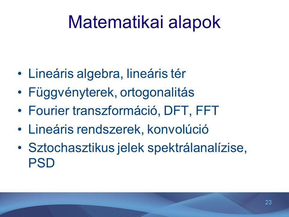 23 Matematikai alapok Lineáris algebra, lineáris tér Függvényterek, ortogonalitás Fourier transzformáció, DFT, FFT Lineáris rendszerek, konvolúció Szt