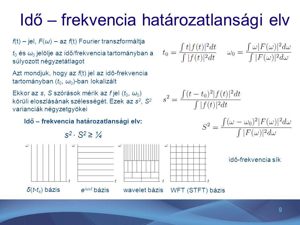 9 Idő – frekvencia határozatlansági elv f(t) – jel, F(ω) – az f(t) Fourier transzformáltja t 0 és ω 0 jelölje az idő/frekvencia tartományban a súlyozo
