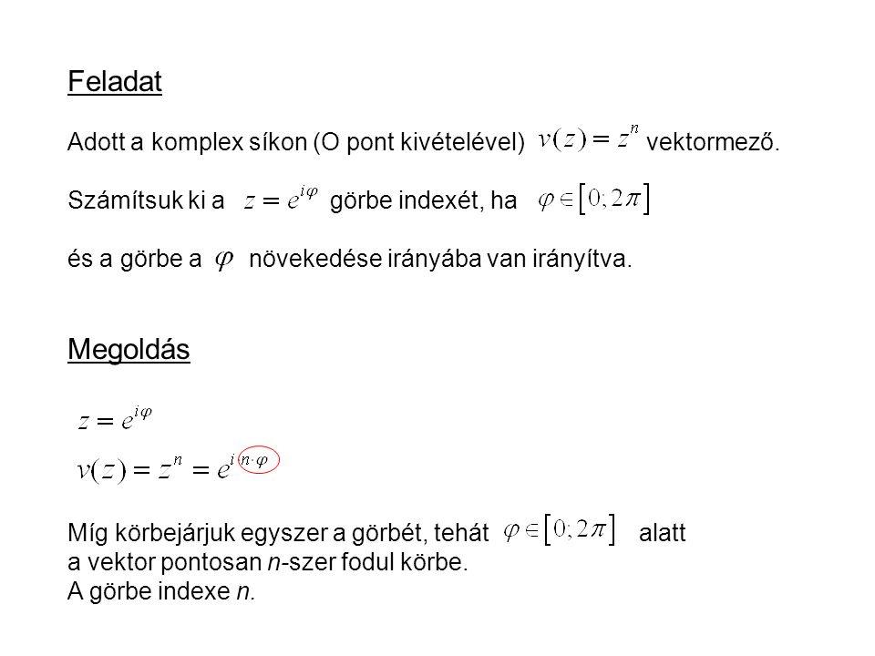 Feladat Adott a komplex síkon (O pont kivételével) vektormező.