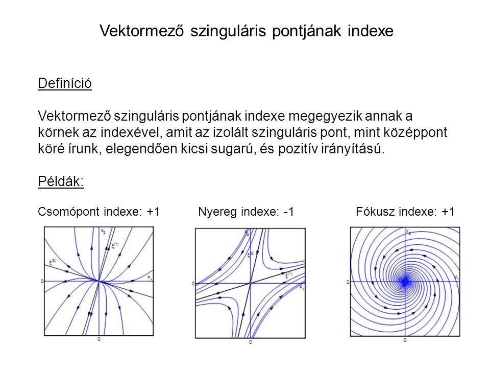 Definíció Vektormező szinguláris pontjának indexe megegyezik annak a körnek az indexével, amit az izolált szinguláris pont, mint középpont köré írunk, elegendően kicsi sugarú, és pozitív irányítású.