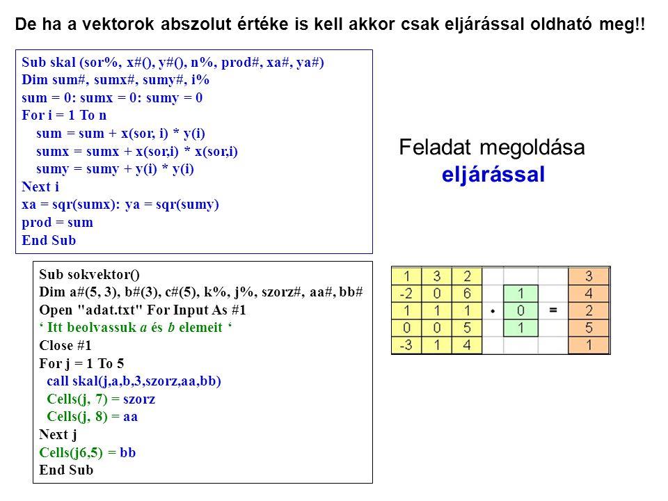 De ha a vektorok abszolut értéke is kell akkor csak eljárással oldható meg!! Sub sokvektor() Dim a#(5, 3), b#(3), c#(5), k%, j%, szorz#, aa#, bb# Open