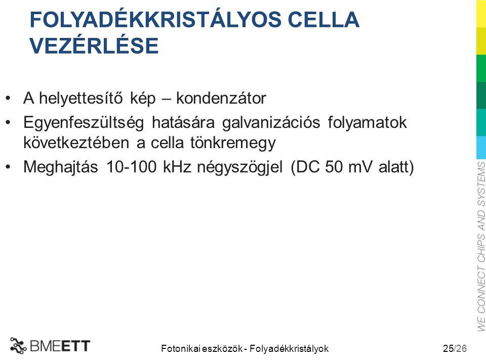 /26 Fotonikai eszközök - Folyadékkristályok 25 A helyettesítő kép – kondenzátor Egyenfeszültség hatására galvanizációs folyamatok következtében a cell