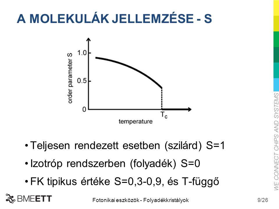 /26 A MOLEKULÁK JELLEMZÉSE - S Teljesen rendezett esetben (szilárd) S=1 Izotróp rendszerben (folyadék) S=0 FK tipikus értéke S=0,3-0,9, és T-függő Fot