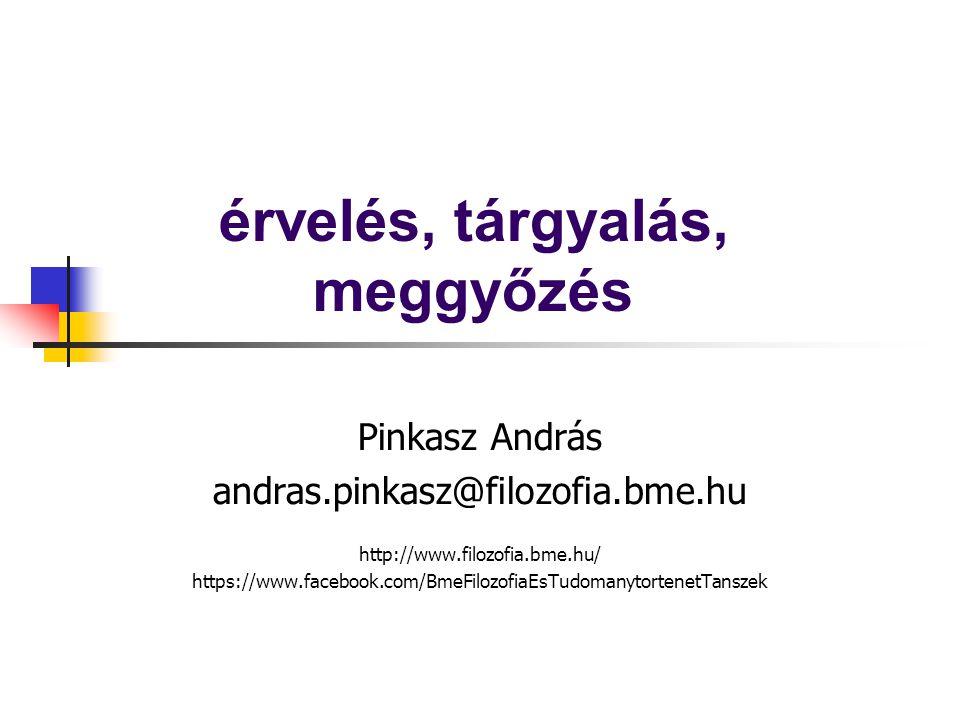 érvelés, tárgyalás, meggyőzés Pinkasz András andras.pinkasz@filozofia.bme.hu http://www.filozofia.bme.hu/ https://www.facebook.com/BmeFilozofiaEsTudom