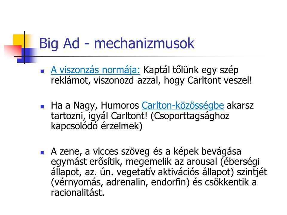 Big Ad - mechanizmusok A viszonzás normája: Kaptál tőlünk egy szép reklámot, viszonozd azzal, hogy Carltont veszel! Ha a Nagy, Humoros Carlton-közössé