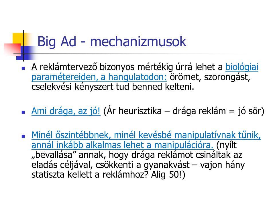 Big Ad - mechanizmusok A reklámtervező bizonyos mértékig úrrá lehet a biológiai paramétereiden, a hangulatodon: örömet, szorongást, cselekvési kénysze