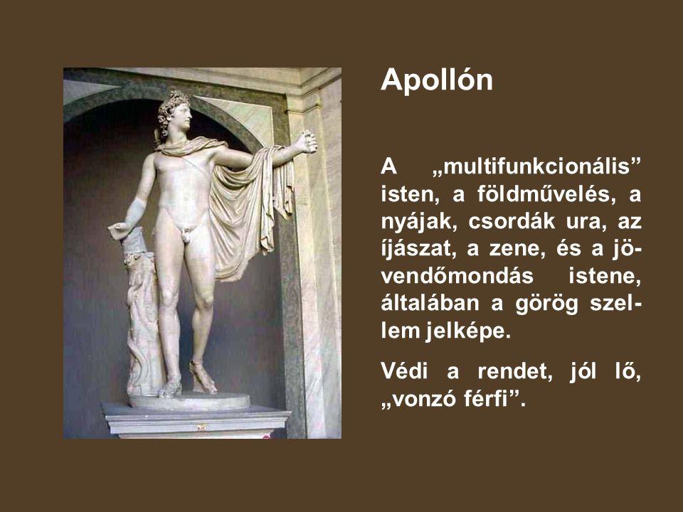 """Apollón A """"multifunkcionális isten, a földművelés, a nyájak, csordák ura, az íjászat, a zene, és a jö- vendőmondás istene, általában a görög szel- lem jelképe."""