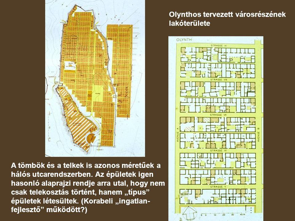 Olynthos tervezett városrészének lakóterülete A tömbök és a telkek is azonos méretűek a hálós utcarendszerben.