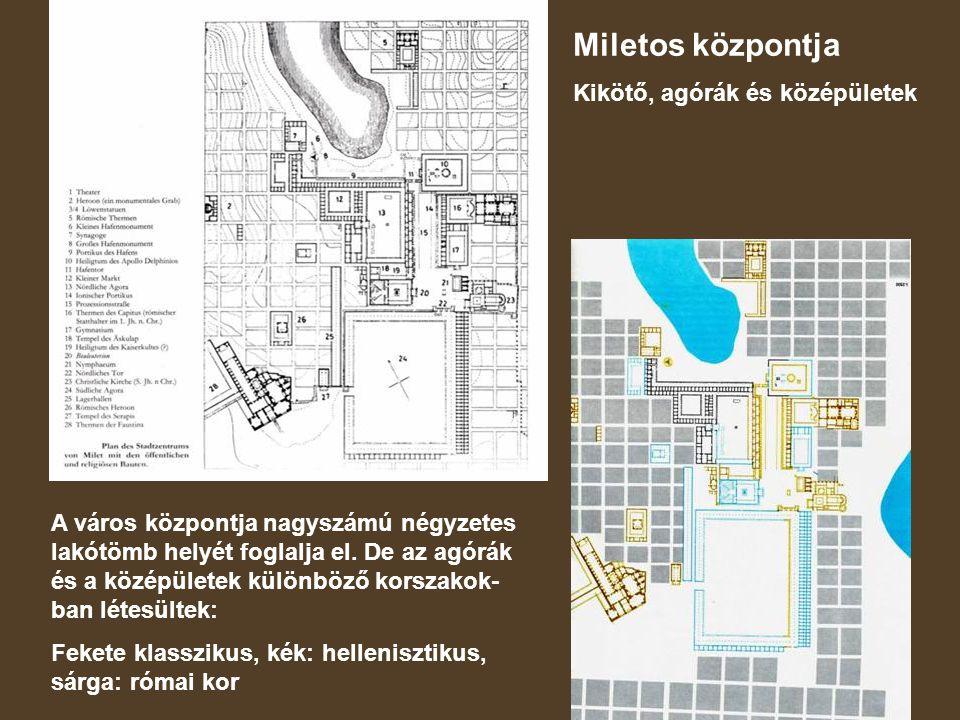 Miletos központja Kikötő, agórák és középületek A város központja nagyszámú négyzetes lakótömb helyét foglalja el.