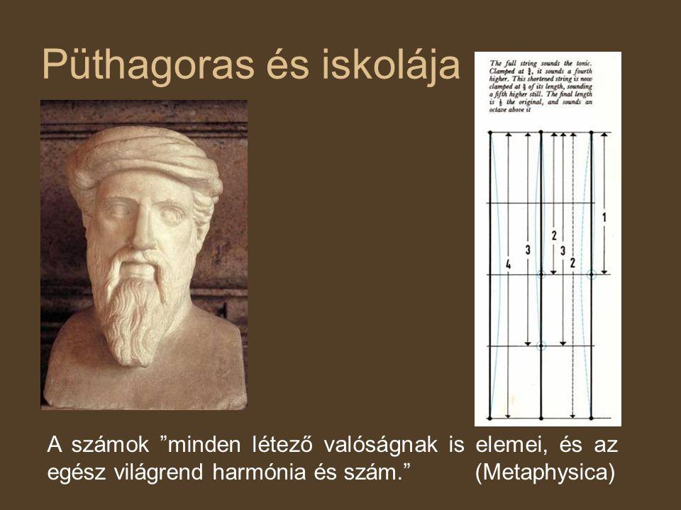 Püthagoras és iskolája A számok minden létező valóságnak is elemei, és az egész világrend harmónia és szám. (Metaphysica)