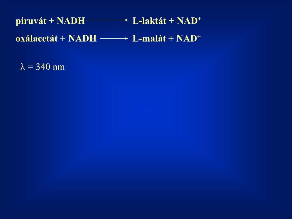 piruvát + NADHL-laktát + NAD + oxálacetát + NADHL-malát + NAD + = 340 nm