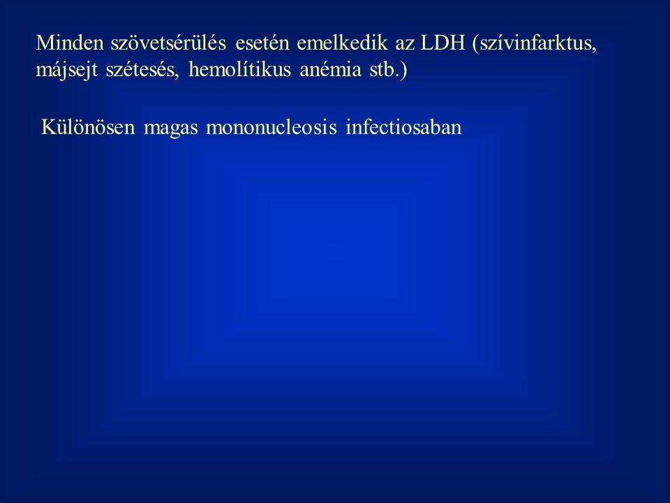 Minden szövetsérülés esetén emelkedik az LDH (szívinfarktus, májsejt szétesés, hemolítikus anémia stb.) Különösen magas mononucleosis infectiosaban