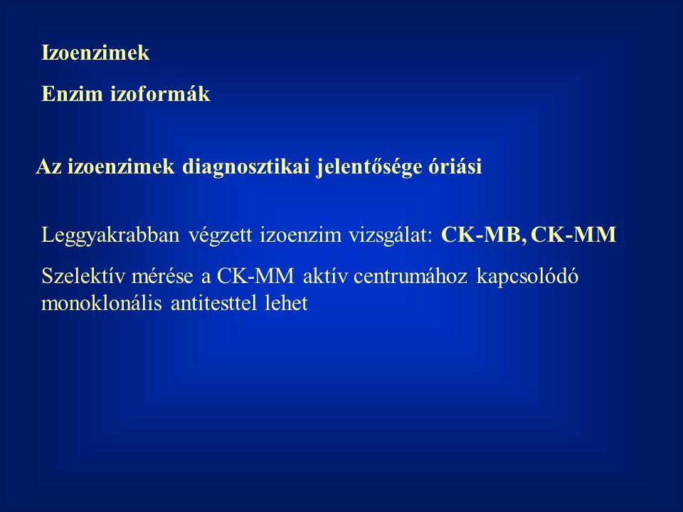 Izoenzimek Enzim izoformák Az izoenzimek diagnosztikai jelentősége óriási Leggyakrabban végzett izoenzim vizsgálat: CK-MB, CK-MM Szelektív mérése a CK
