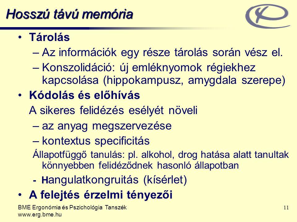 BME Ergonómia és Pszichológia Tanszék www.erg.bme.hu 11 Hosszú távú memória Tárolás –Az információk egy része tárolás során vész el. –Konszolidáció: ú