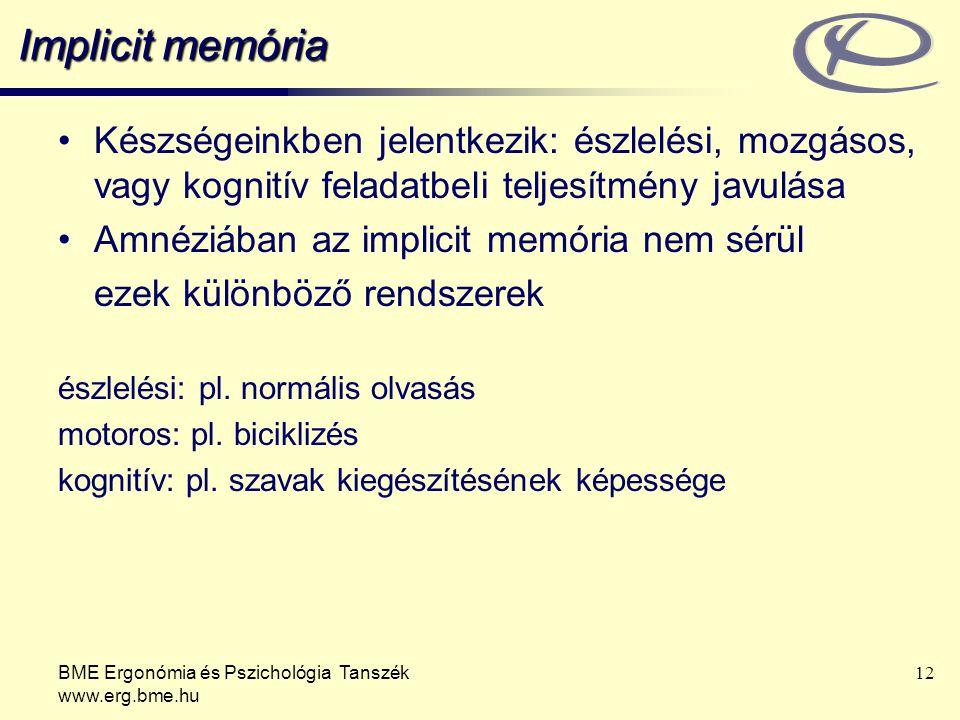 BME Ergonómia és Pszichológia Tanszék www.erg.bme.hu 12 Implicit memória Készségeinkben jelentkezik: észlelési, mozgásos, vagy kognitív feladatbeli te