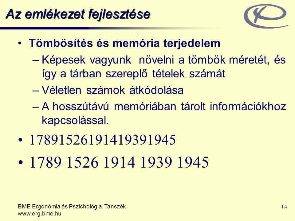 BME Ergonómia és Pszichológia Tanszék www.erg.bme.hu 14 Az emlékezet fejlesztése Tömbösítés és memória terjedelem –Képesek vagyunk növelni a tömbök mé