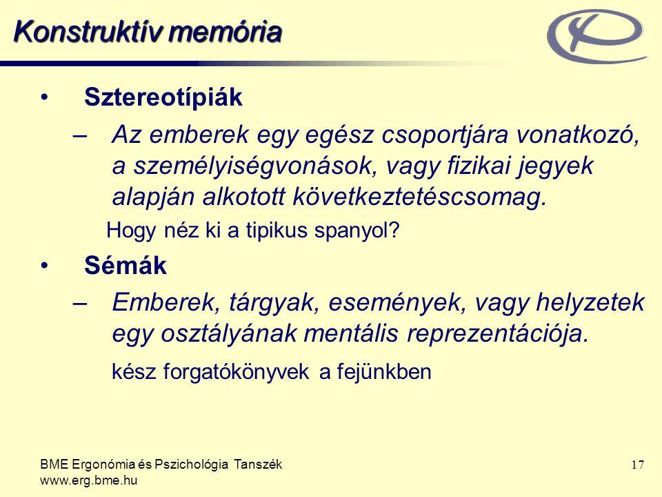 BME Ergonómia és Pszichológia Tanszék www.erg.bme.hu 17 Konstruktív memória Sztereotípiák –Az emberek egy egész csoportjára vonatkozó, a személyiségvo