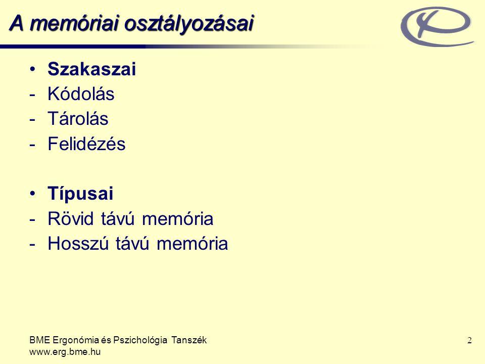 BME Ergonómia és Pszichológia Tanszék www.erg.bme.hu 2 A memóriai osztályozásai Szakaszai -Kódolás -Tárolás -Felidézés Típusai -Rövid távú memória -Ho
