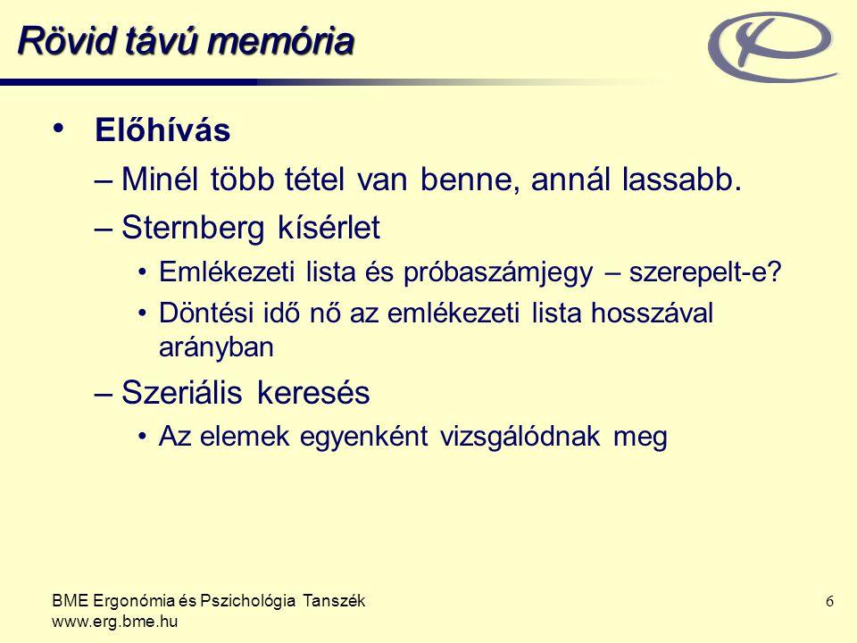 BME Ergonómia és Pszichológia Tanszék www.erg.bme.hu 6 Rövid távú memória Előhívás –Minél több tétel van benne, annál lassabb. –Sternberg kísérlet Eml
