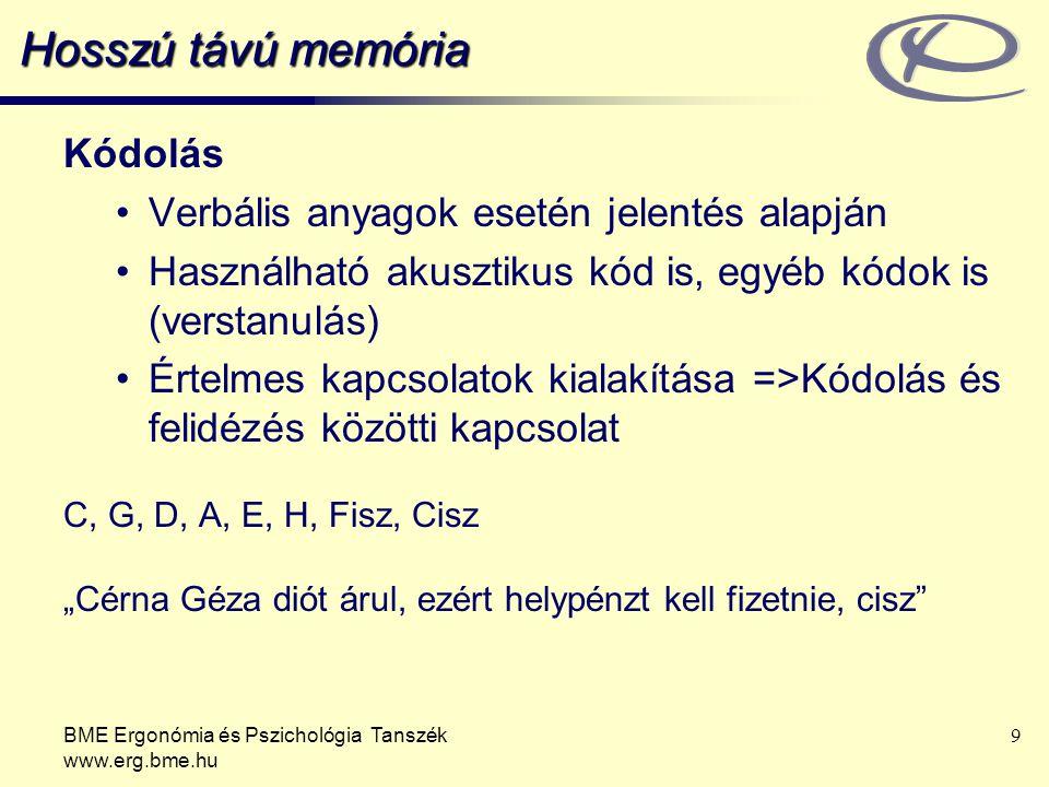 BME Ergonómia és Pszichológia Tanszék www.erg.bme.hu 9 Hosszú távú memória Kódolás Verbális anyagok esetén jelentés alapján Használható akusztikus kód