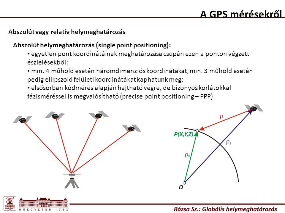 A GPS mérésekről Abszolút vagy relatív helymeghatározás Abszolút helymeghatározás (single point positioning): egyetlen pont koordinátáinak meghatározá