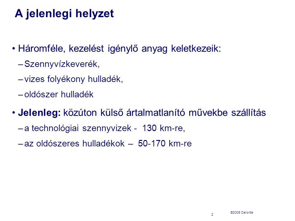 ©2008 Deloitte A jelenlegi helyzet 2 Háromféle, kezelést igénylő anyag keletkezeik: –Szennyvízkeverék, –vizes folyékony hulladék, –oldószer hulladék Jelenleg: közúton külső ártalmatlanító művekbe szállítás –a technológiai szennyvizek - 130 km-re, –az oldószeres hulladékok – 50-170 km-re