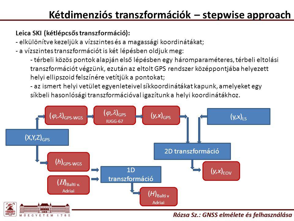 Kétdimenziós transzformációk – stepwise approach Leica SKI (kétlépcsős transzformáció): - elkülönítve kezeljük a vízszintes és a magassági koordináták