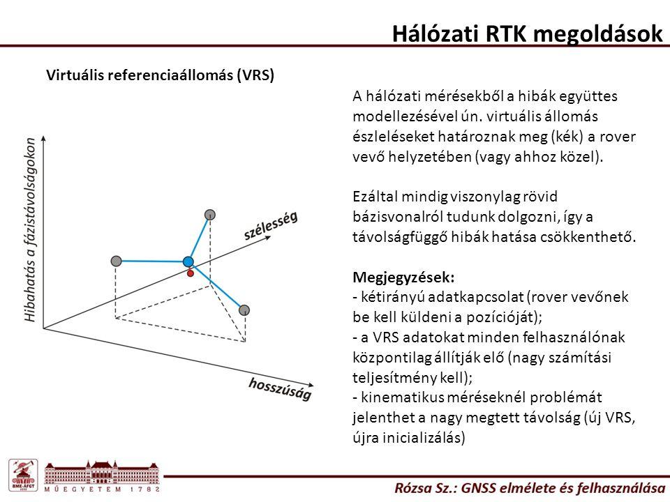 Hálózati RTK megoldások Virtuális referenciaállomás (VRS) A hálózati mérésekből a hibák együttes modellezésével ún. virtuális állomás észleléseket hat
