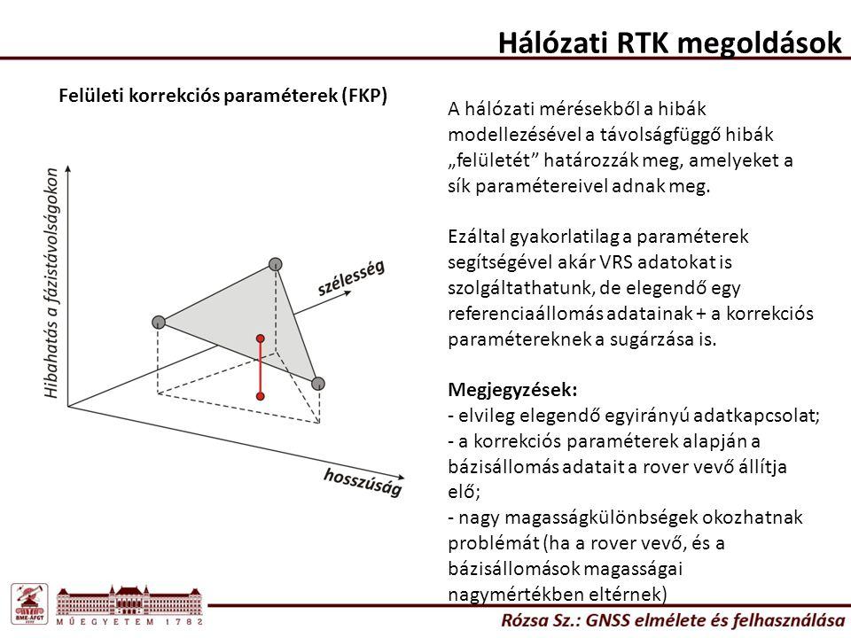 """Hálózati RTK megoldások Felületi korrekciós paraméterek (FKP) A hálózati mérésekből a hibák modellezésével a távolságfüggő hibák """"felületét"""" határozzá"""