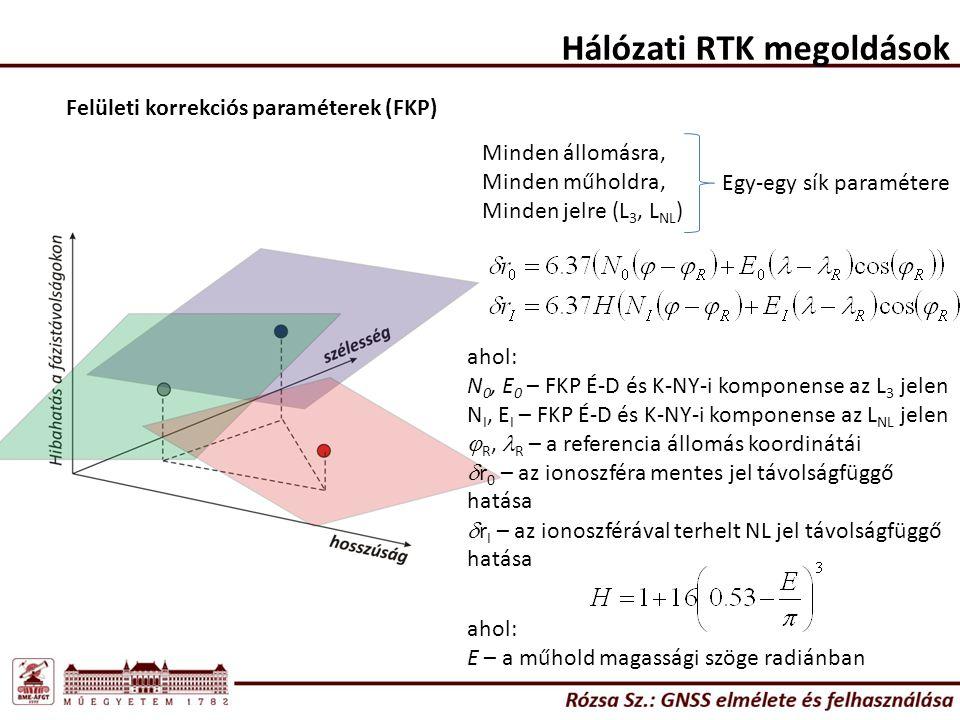 Hálózati RTK megoldások Felületi korrekciós paraméterek (FKP) Minden állomásra, Minden műholdra, Minden jelre (L 3, L NL ) Egy-egy sík paramétere ahol