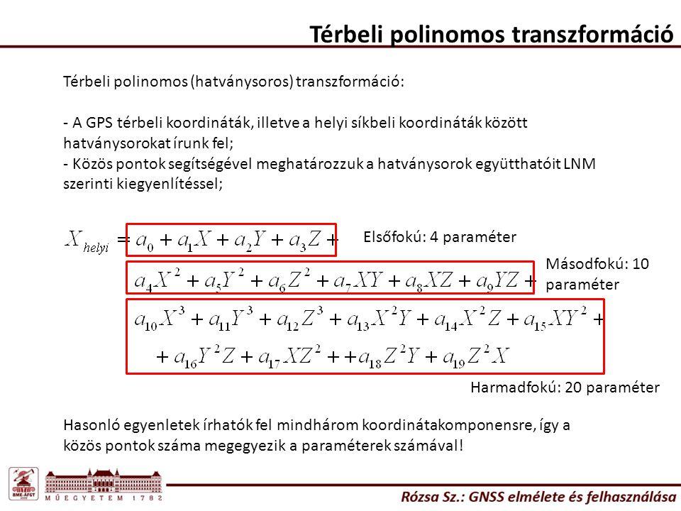 Térbeli polinomos transzformáció Térbeli polinomos (hatványsoros) transzformáció: - A GPS térbeli koordináták, illetve a helyi síkbeli koordináták köz