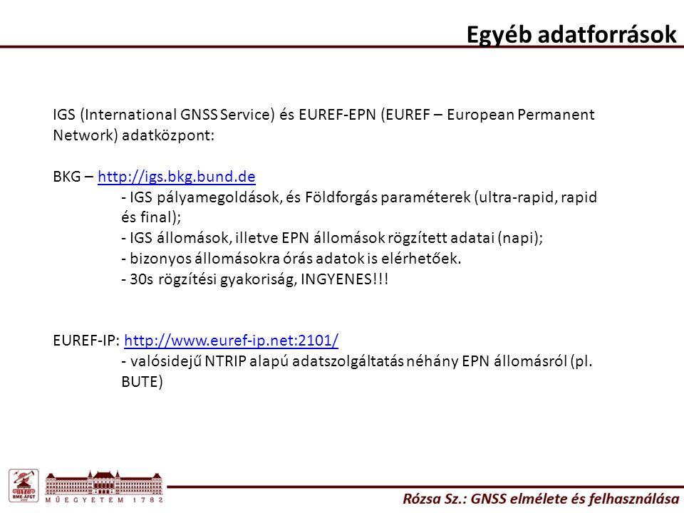 Egyéb adatforrások IGS (International GNSS Service) és EUREF-EPN (EUREF – European Permanent Network) adatközpont: BKG – http://igs.bkg.bund.dehttp://