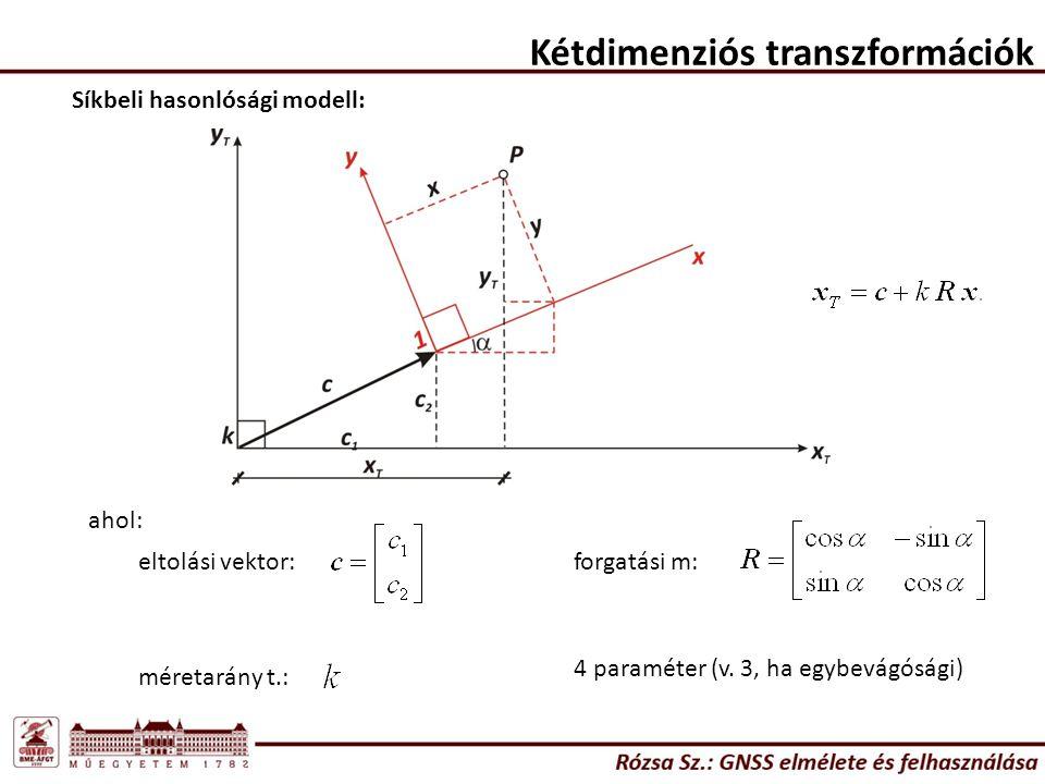 Kétdimenziós transzformációk A kétdimenziós hasonlósági transzformáció alkalmazási lehetőségei: - ha a helyi rendszer alapfelülete nem ismer, vagy pl.