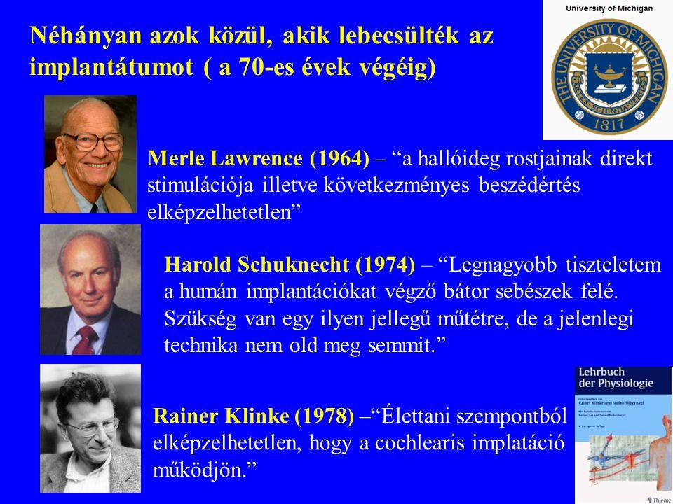 """Néhányan azok közül, akik lebecsülték az implantátumot ( a 70-es évek végéig) Merle Lawrence (1964) – """"a hallóideg rostjainak direkt stimulációja ille"""
