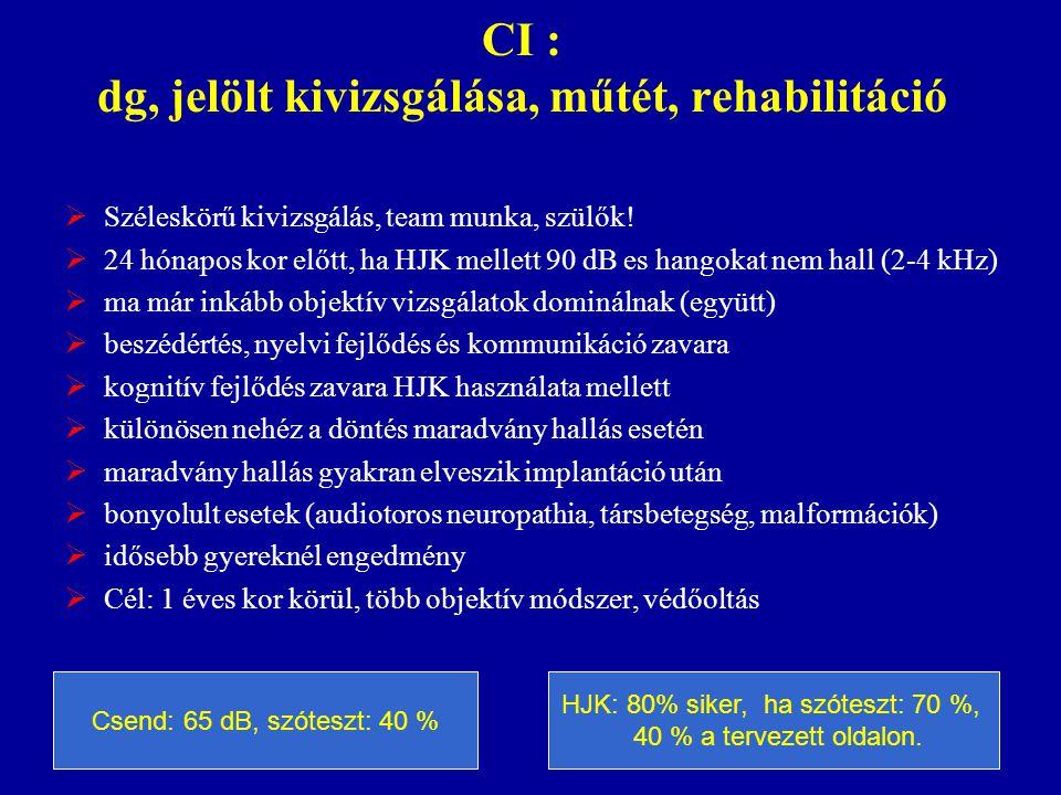 CI : dg, jelölt kivizsgálása, műtét, rehabilitáció  Széleskörű kivizsgálás, team munka, szülők!  24 hónapos kor előtt, ha HJK mellett 90 dB es hango