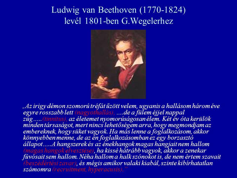 """Ludwig van Beethoven (1770-1824) levél 1801-ben G.Wegelerhez """" Az irigy démon szomorú tréfát űzött velem, ugyanis a hallásom három éve egyre rosszabb"""