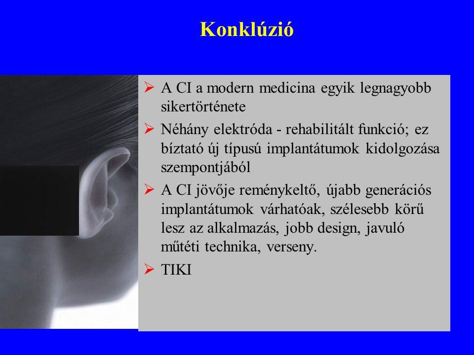 Konklúzió  A CI a modern medicina egyik legnagyobb sikertörténete  Néhány elektróda - rehabilitált funkció; ez bíztató új típusú implantátumok kidol