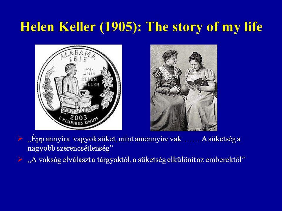 """Helen Keller (1905): The story of my life  """"Épp annyira vagyok süket, mint amennyire vak……..A süketség a nagyobb szerencsétlenség""""  """"A vakság elvála"""